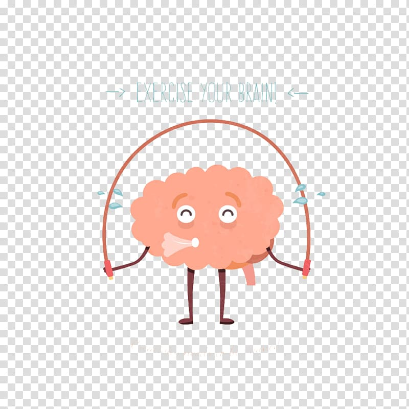 Pink cartoon character art, Physical exercise Brain.