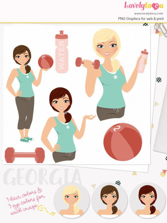 Fitness Woman character clipart exercise illustration.