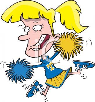Cartoon Cheerleader with Pom Poms.