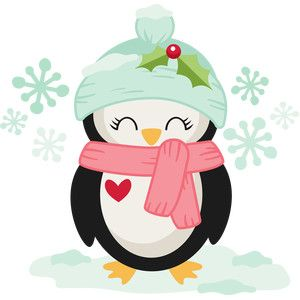 Silhouette Design Store: girl christmas penguin.