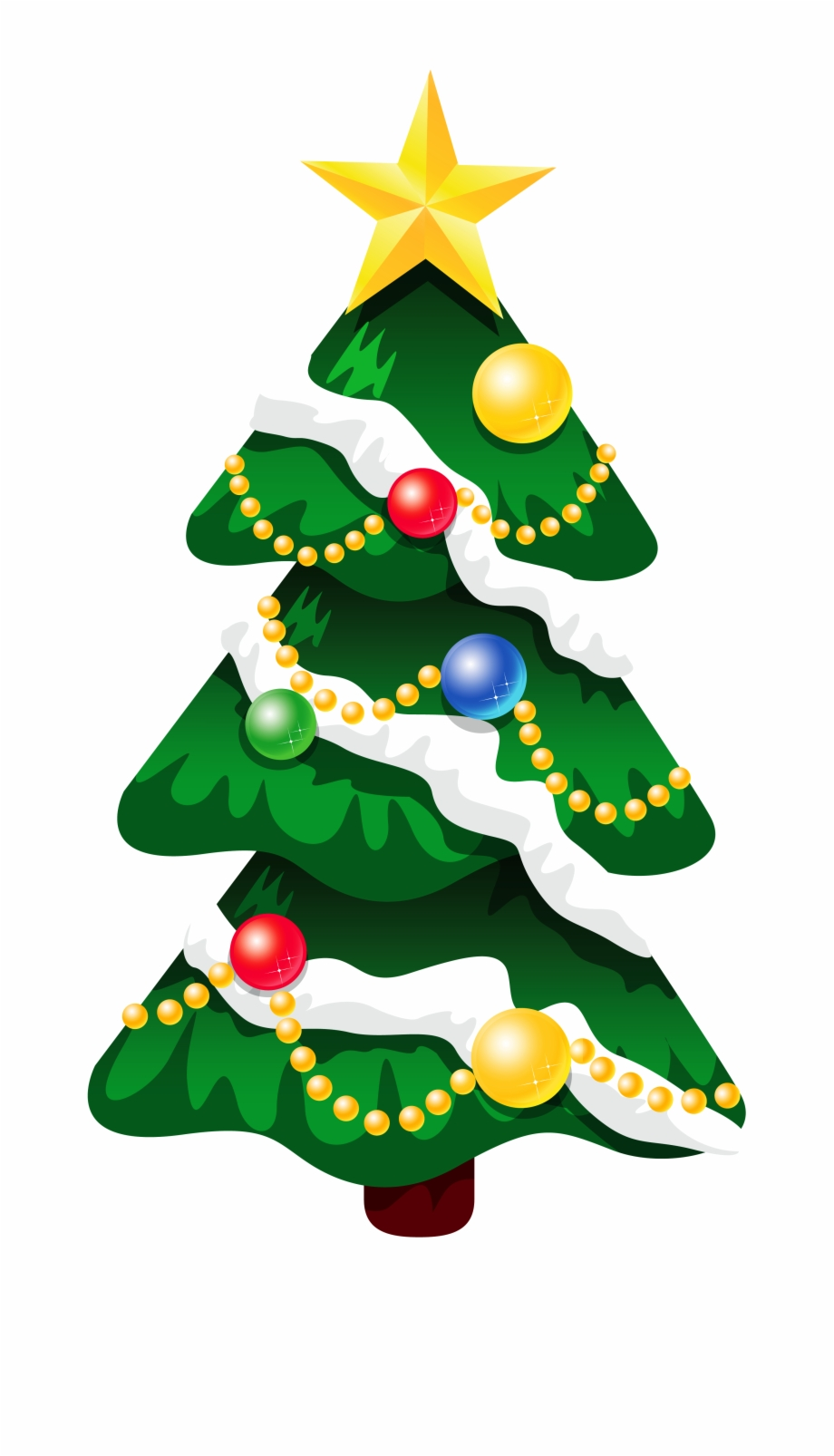 Transparent Snowy Deco Xmas Tree With Star Png Clipart.