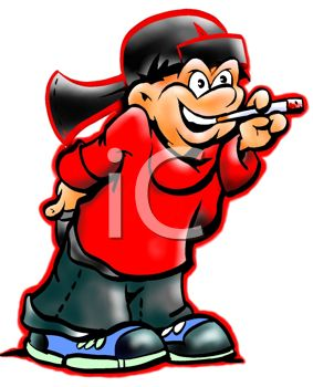 Picture of a Boy Smoking a Cigarette In a Vector Clip Art.