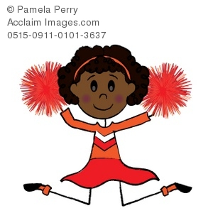 Clip Art Picture of an African American Cartoon Cheerleader.