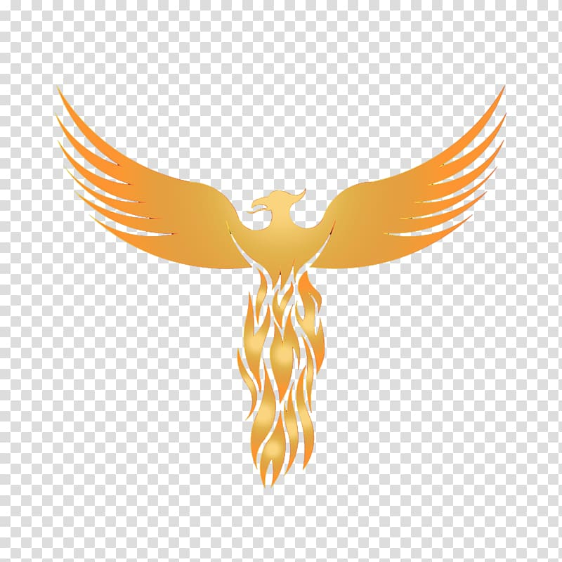 Orange phoenix animated illustration, Logo Phoenix Graphic.