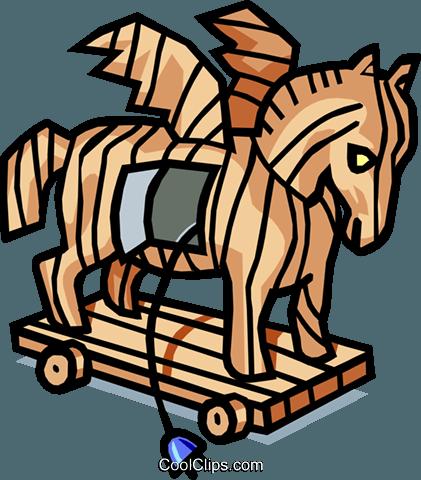 Trojan horse Royalty Free Vector Clip Art illustration.