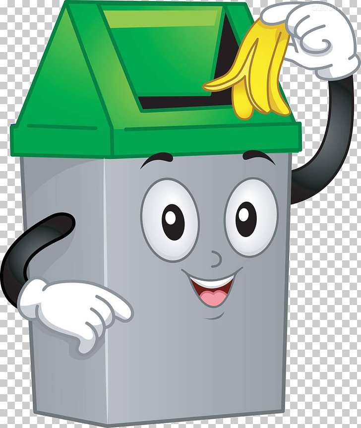 Waste container , Cartoon trash can, gray and green trash.