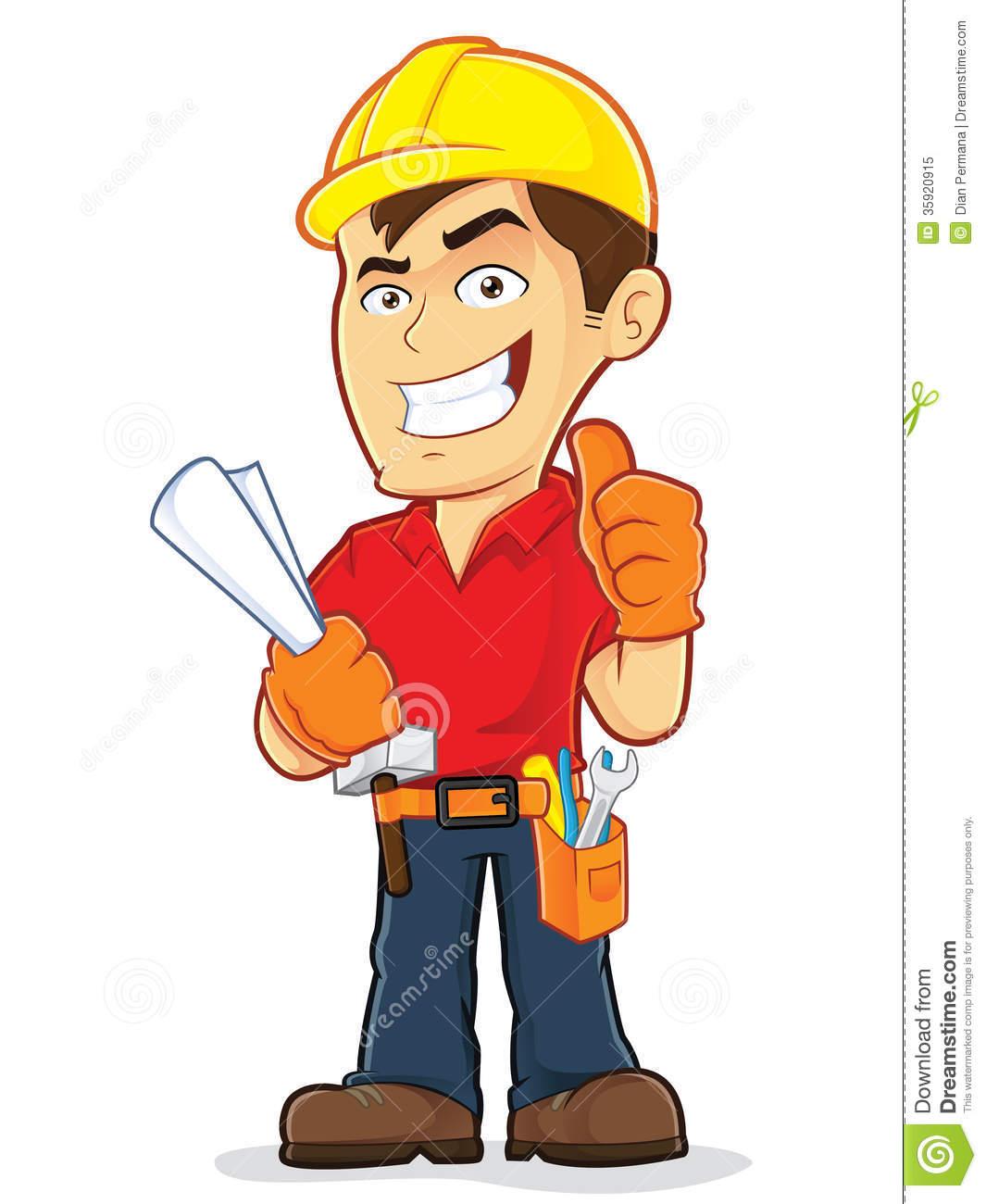 Cartoon Construction Worker Clipart.