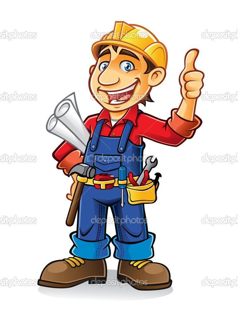 Cartoon Construction Worker Clip Art.