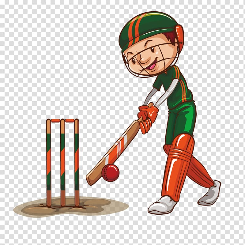 Boy playing cricket illustration, Sport Cricket , cartoon.