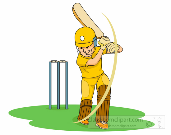 Boy Playing Cricket Clipart.