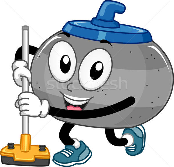 Mascot Curling Stone vector illustration © lenm (#6584005.