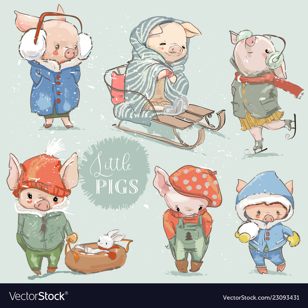 Cute lovely cartoon pigs clipart collection.