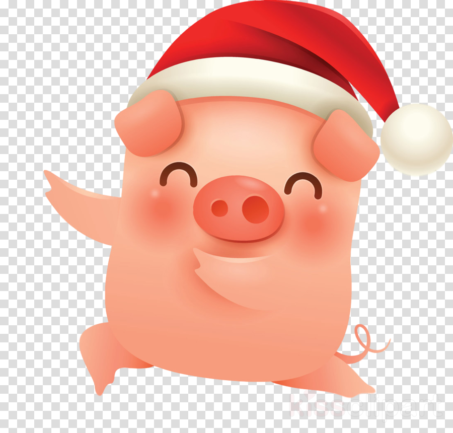 merry christmas pig cute pig clipart.