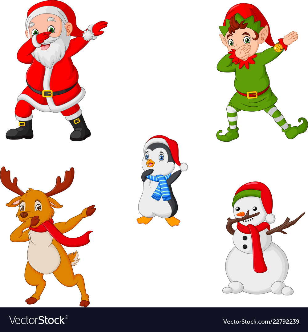 Dancing christmas cartoon santa claus elf reinde.