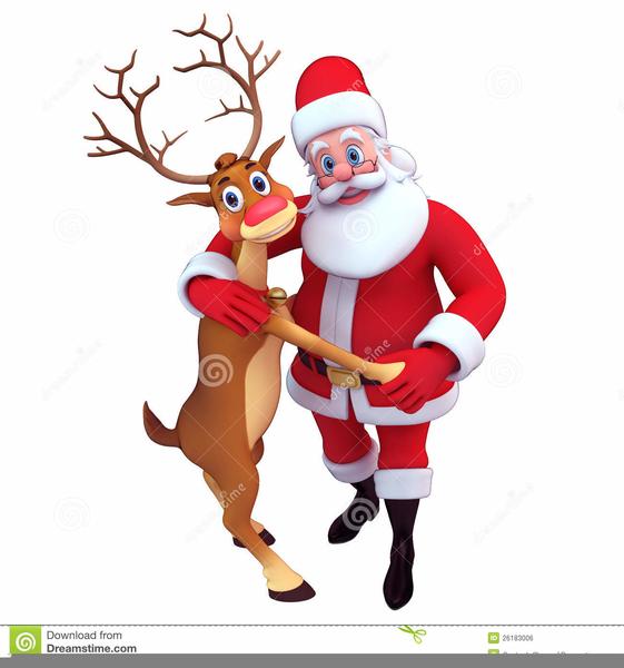 Santa Dancing Reindeer Clipart.