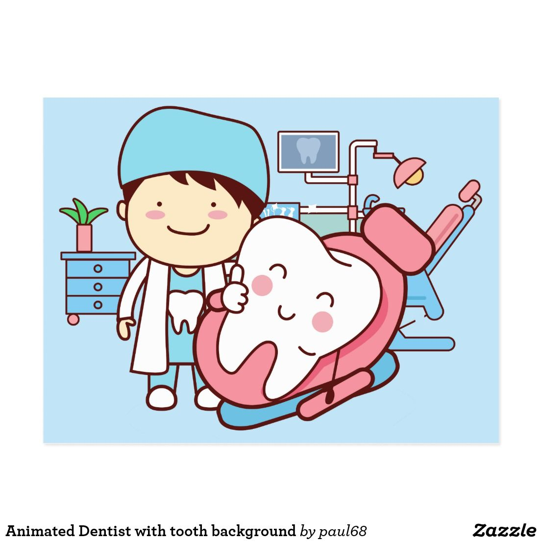Animated Dentist with tooth background Postcard.