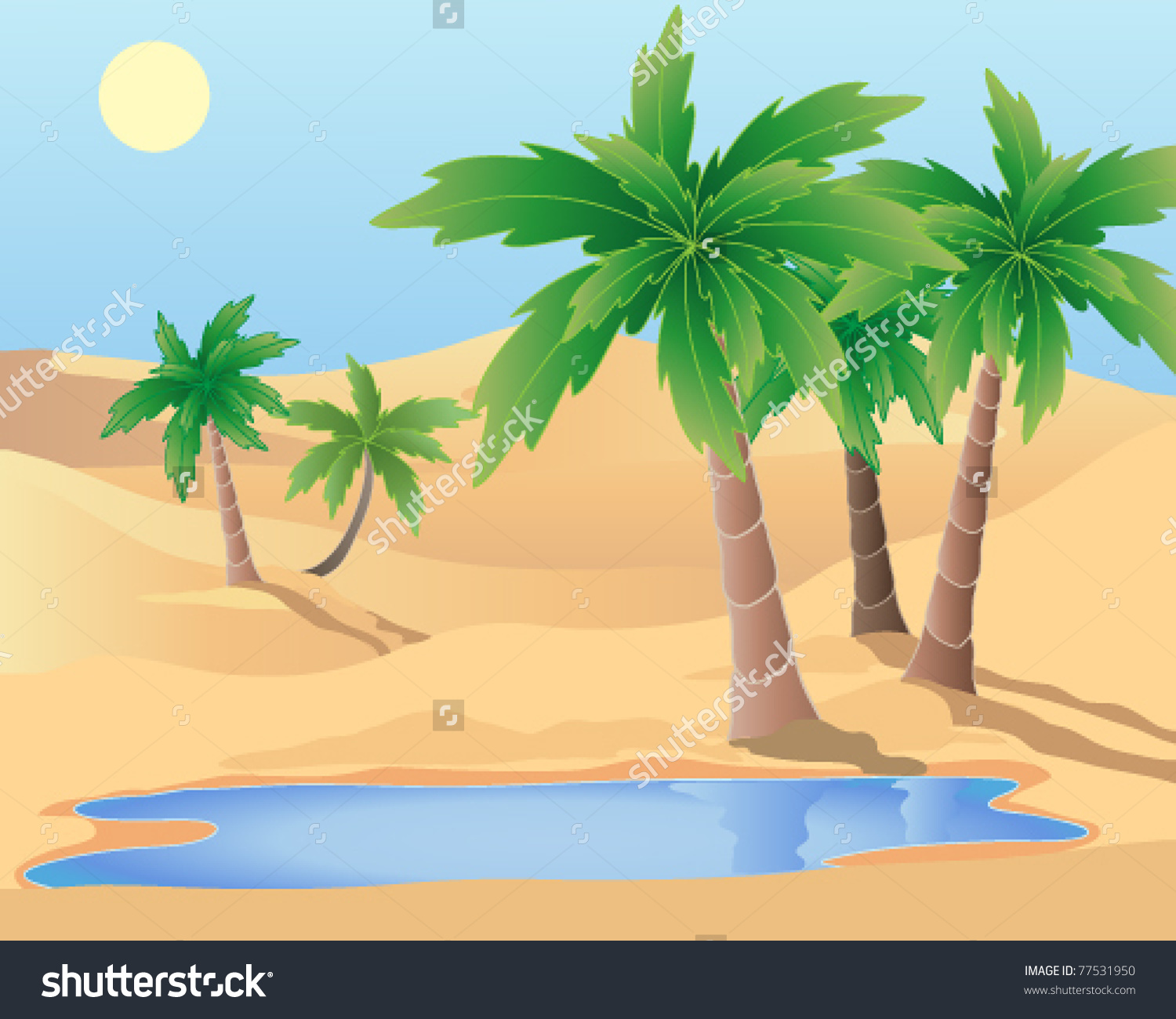 Showing post & media for Cartoon desert with palm tree.