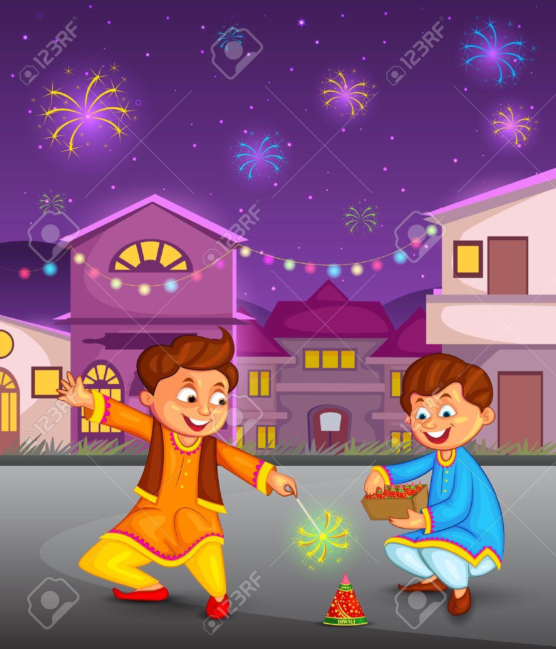 Diwali Cartoon Clipart.
