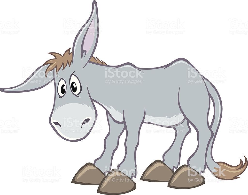 An Animated Cartoon Grey Donkey Stock Illustration.
