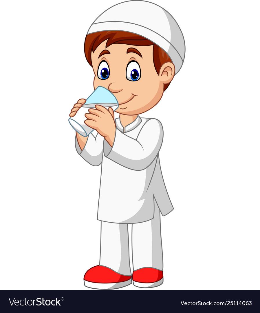 Cartoon muslim boy drinking water.