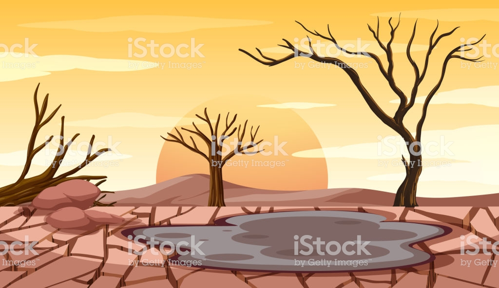Deforestation Scene With Drought Land Stock Illustration.