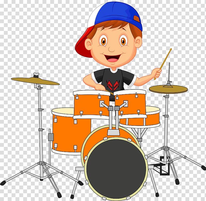 Man playing drum illustration, Drums Drummer Cartoon, Happy.