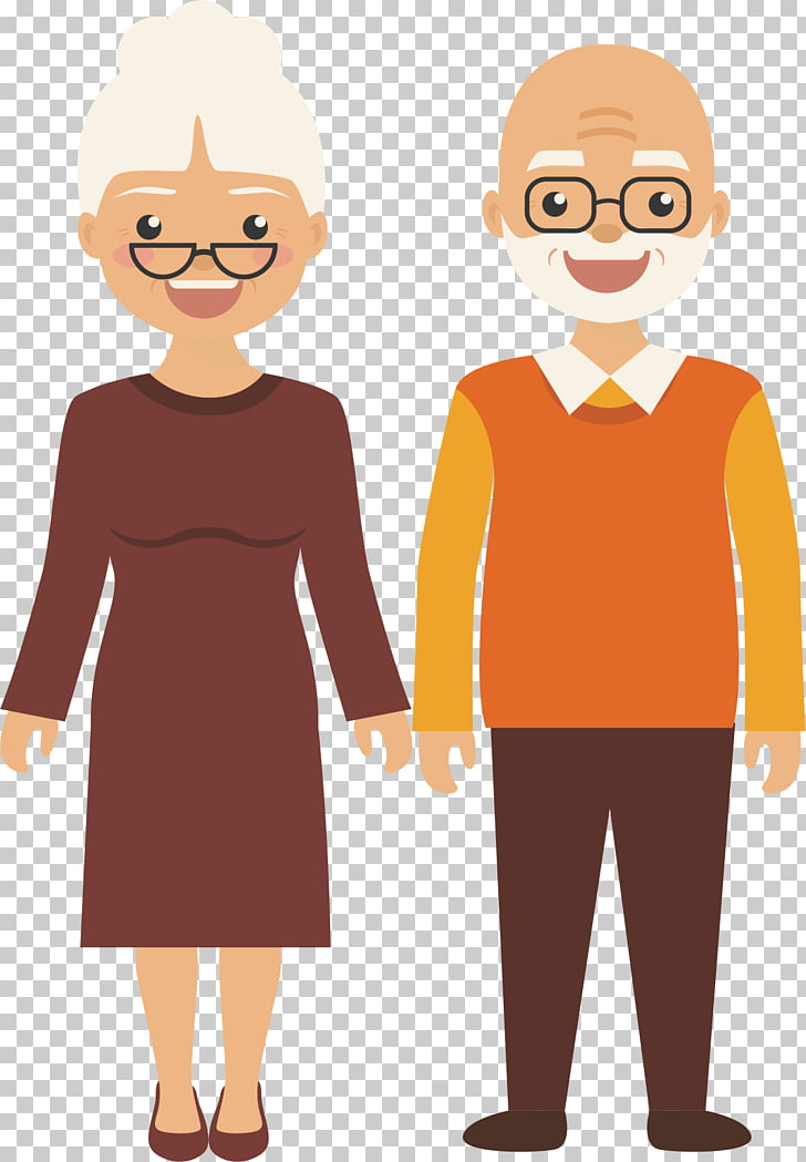 Old age , Happy man, woman and man cartoon illustrations PNG.
