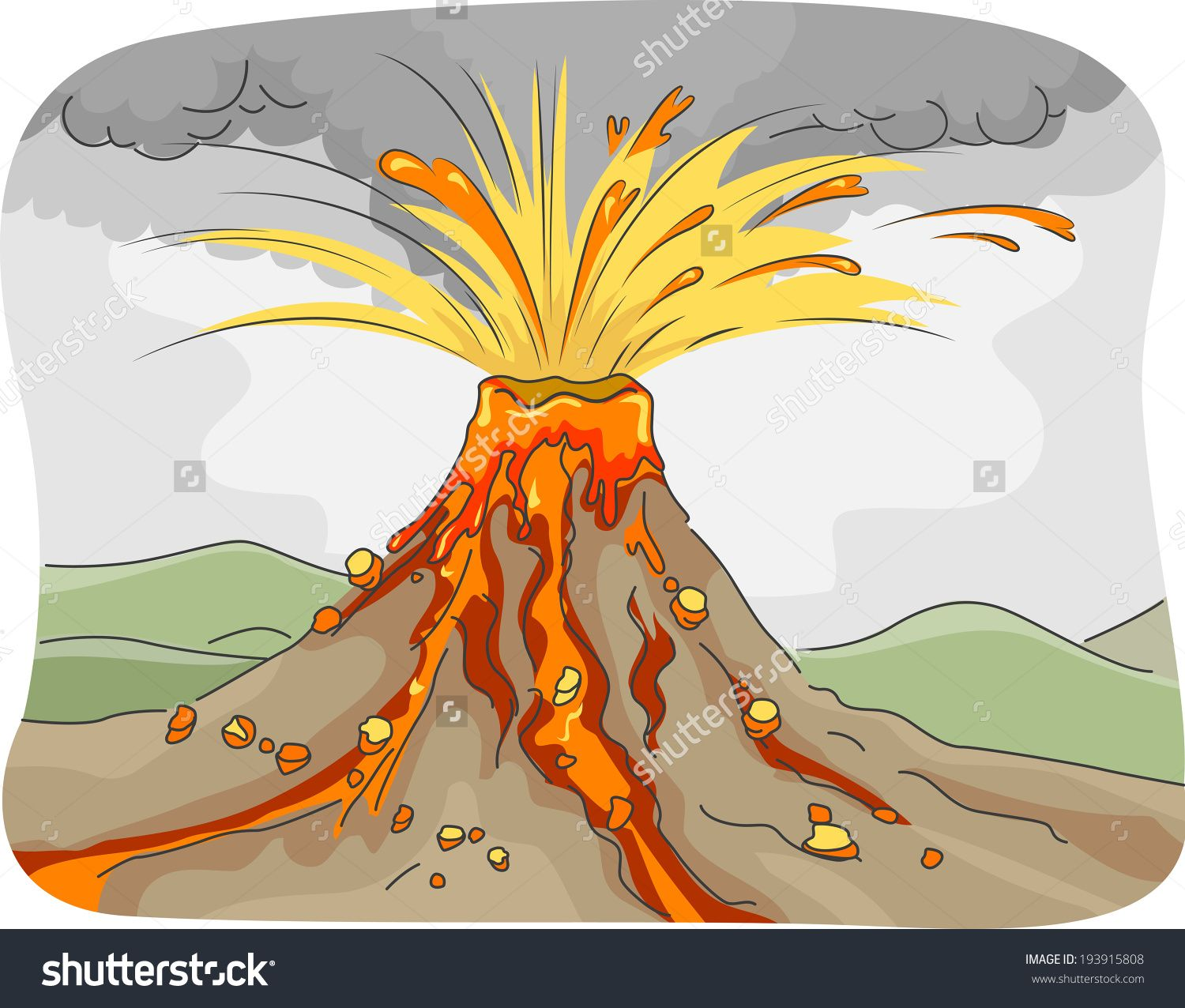 Illustration Featuring an Erupting Volcano Spewing Lava.