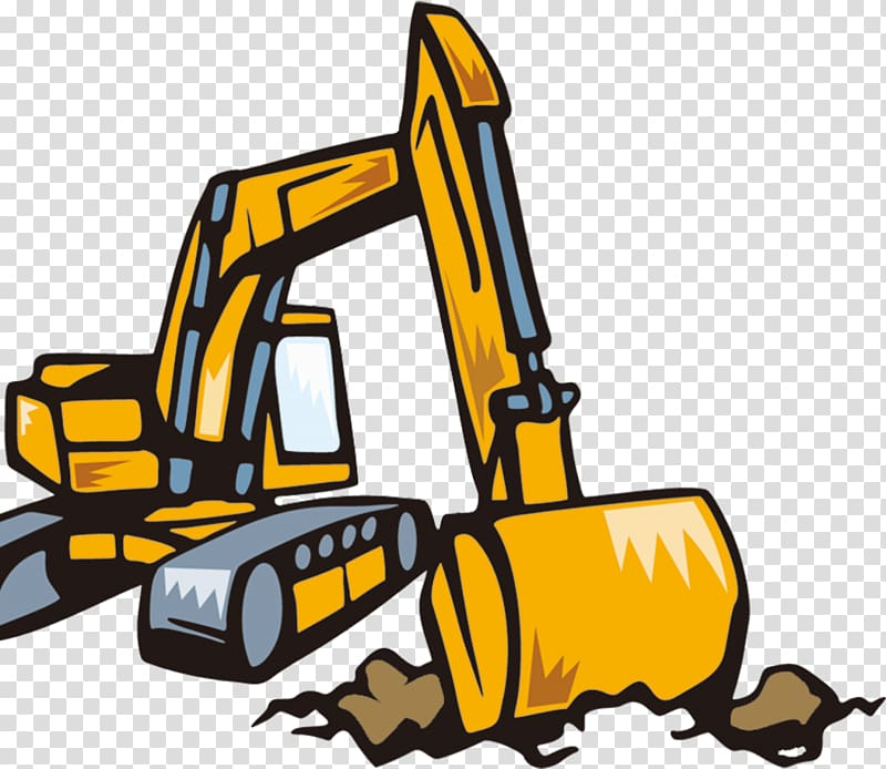 Excavator Backhoe , Cartoon Excavator transparent background.