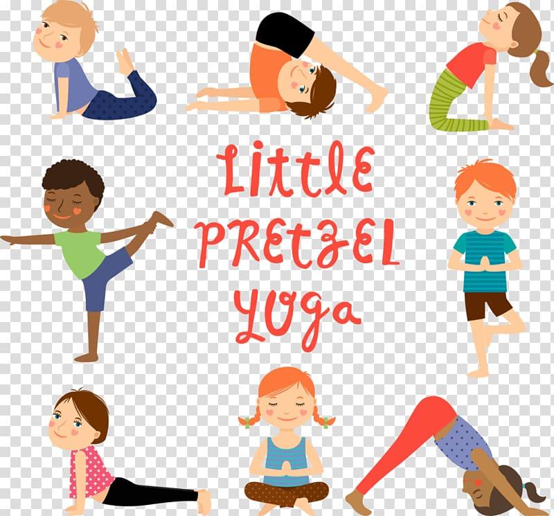 Little Pretzel Yoga illustration, Yoga for children Exercise.