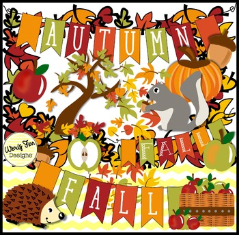 Autumn Fall Clipart, & Fall Banners, Borders and Backgrounds.