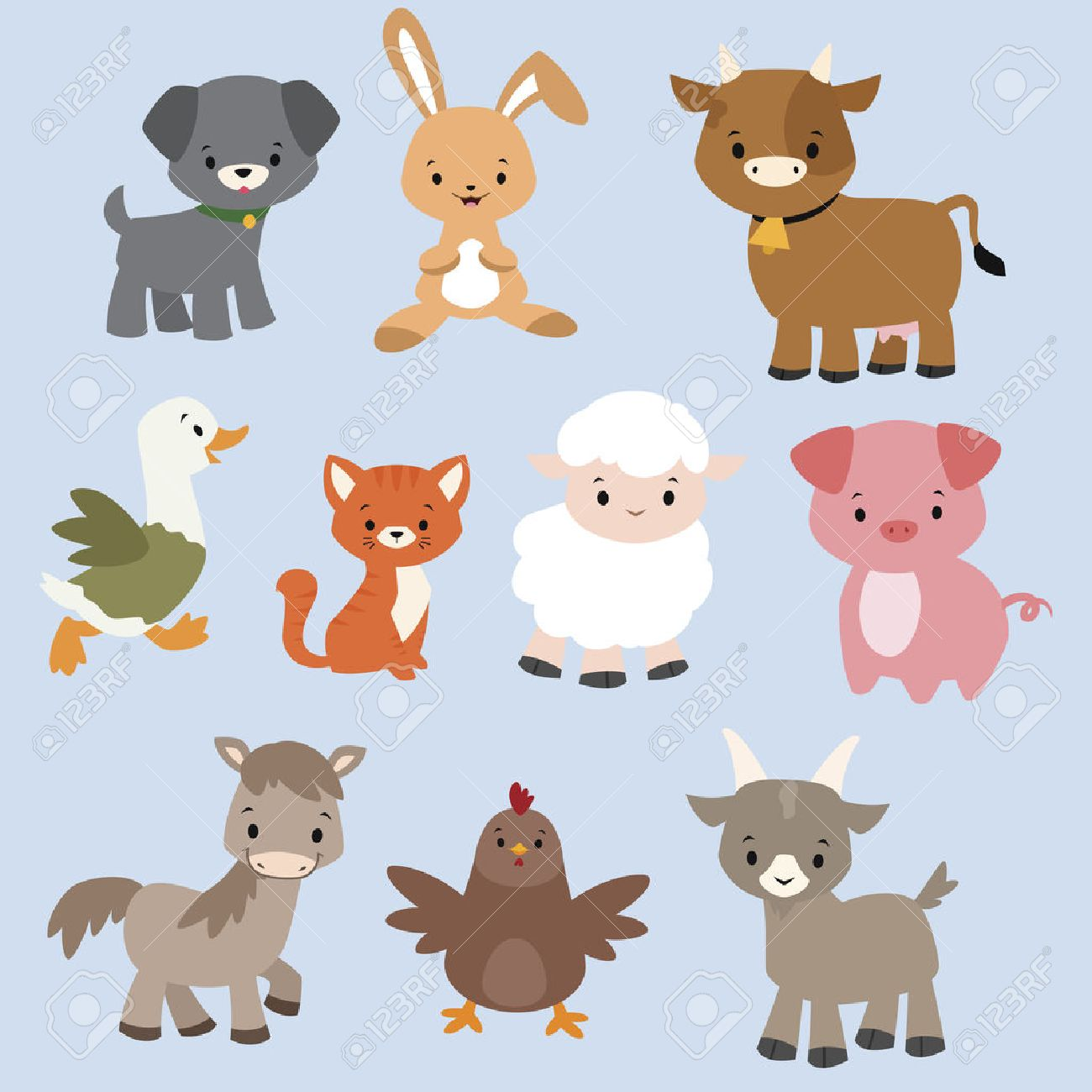 A set of cute cartoon farm animals.