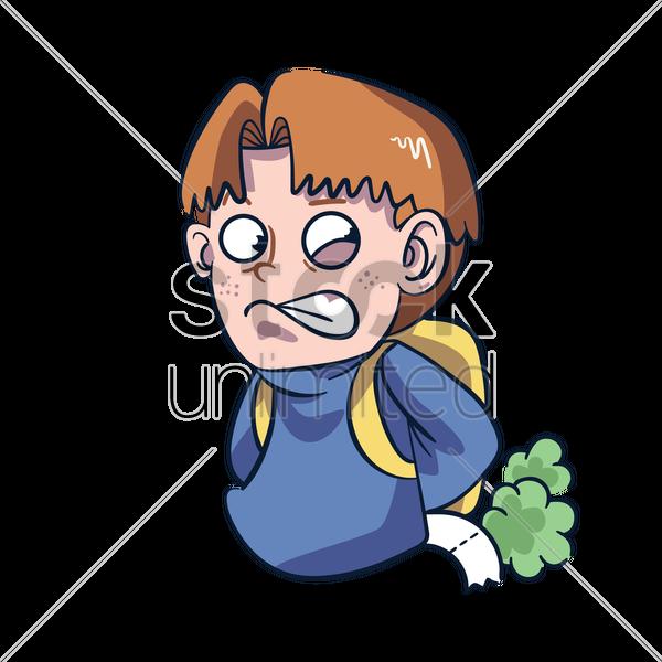 Cartoon character farting Vector Image.