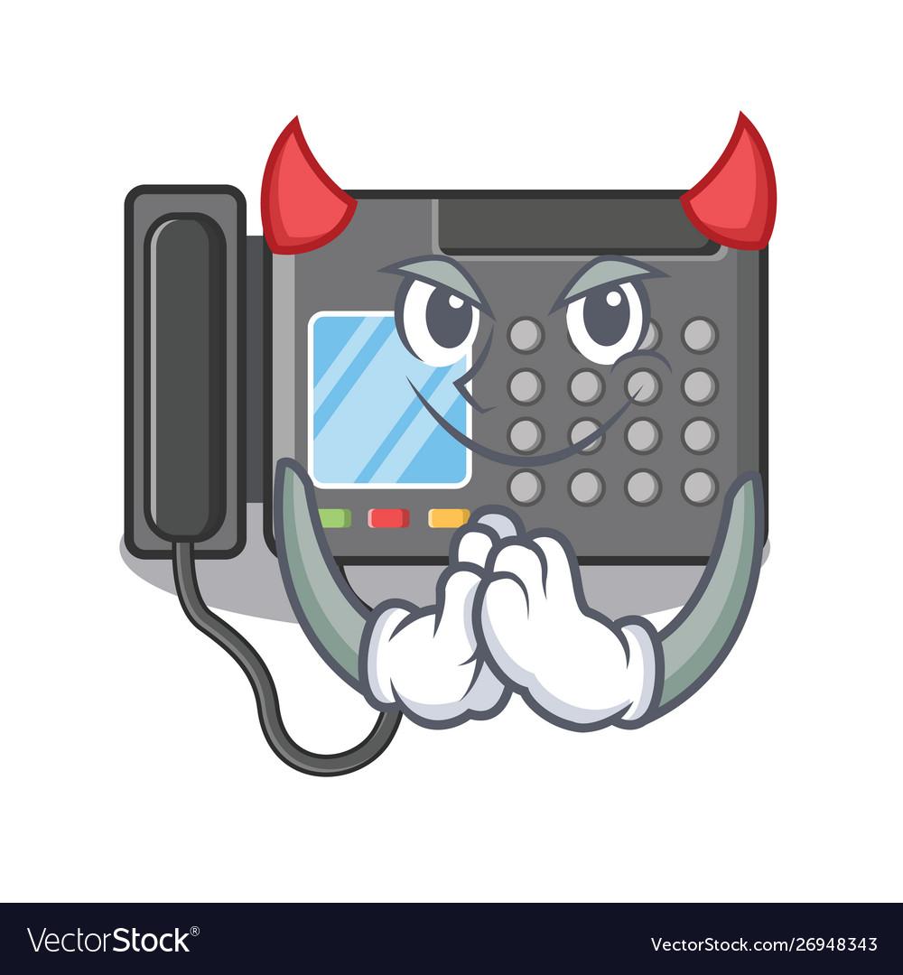Devil fax machine above cartoon table.