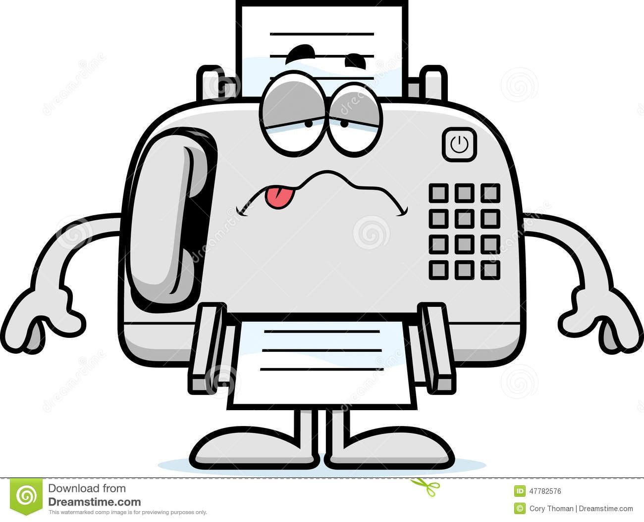Sick Cartoon Fax Machine stock vector. Illustration of.