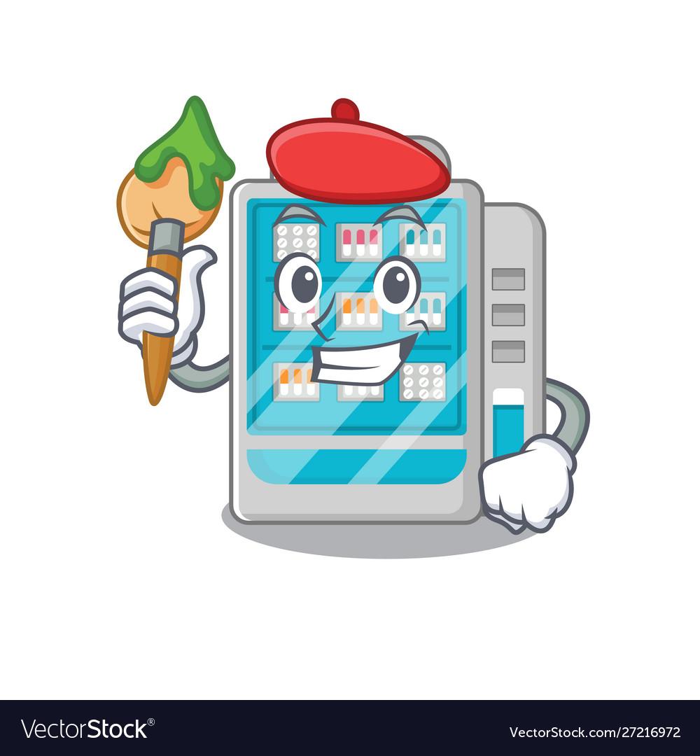 Artist medicines vending machine on cartoon.