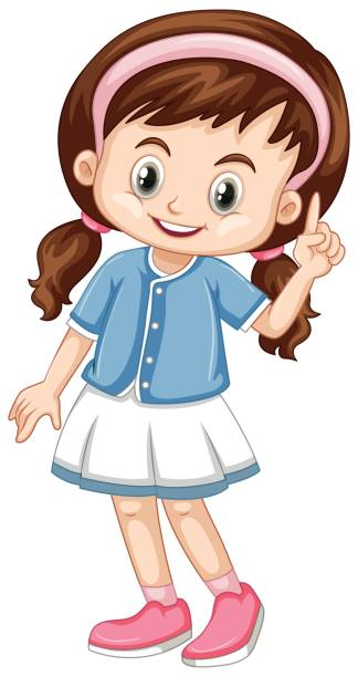 Girl Pointing Finger Clipart.
