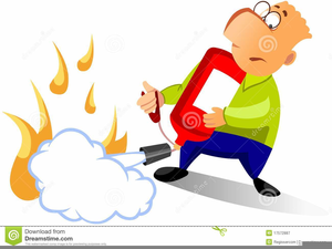 Clipart Of Man Using Fire Extinguisher.