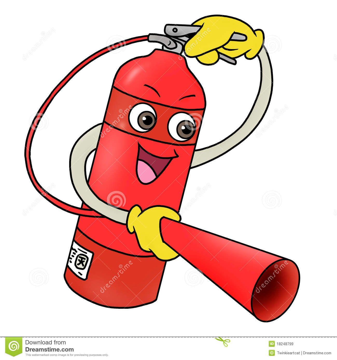 Funny Cartoon Fire Extinguisher.