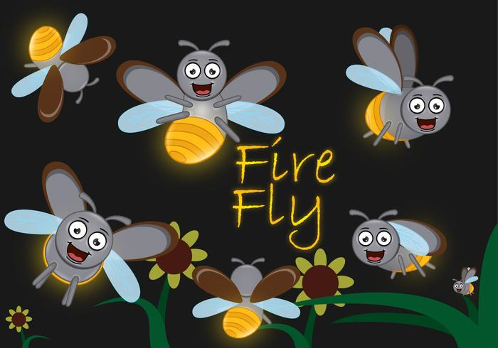 Cute Cartoon Firefly.