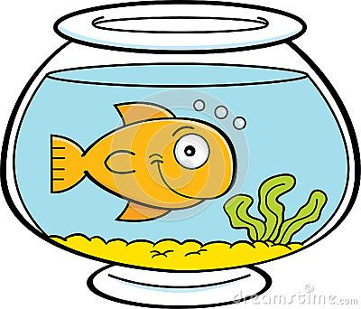 Cartoon fish in a fish bowl by Kenneth Benner, via.