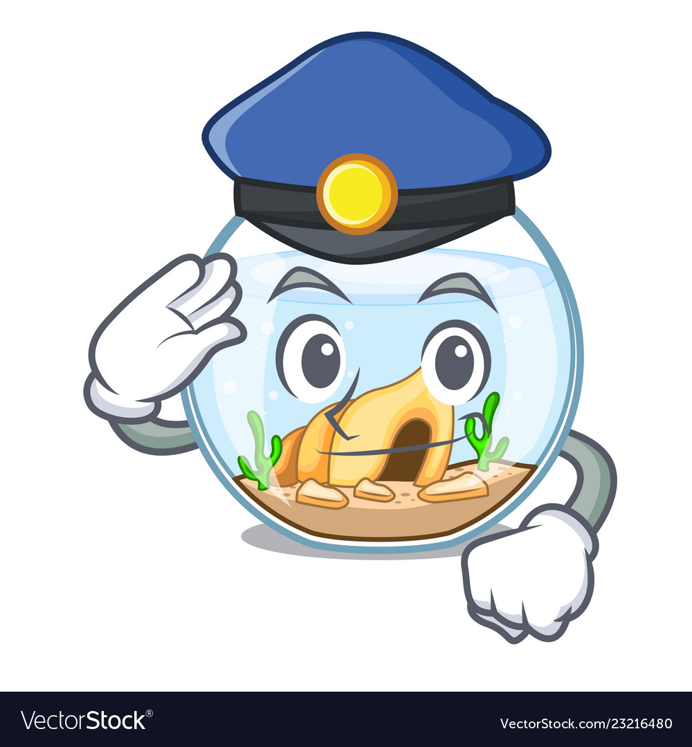 Police cartoon goldfish a in on fishbowl.
