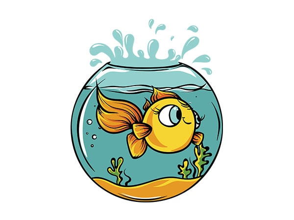 Fish bowl t shirt graphic design.