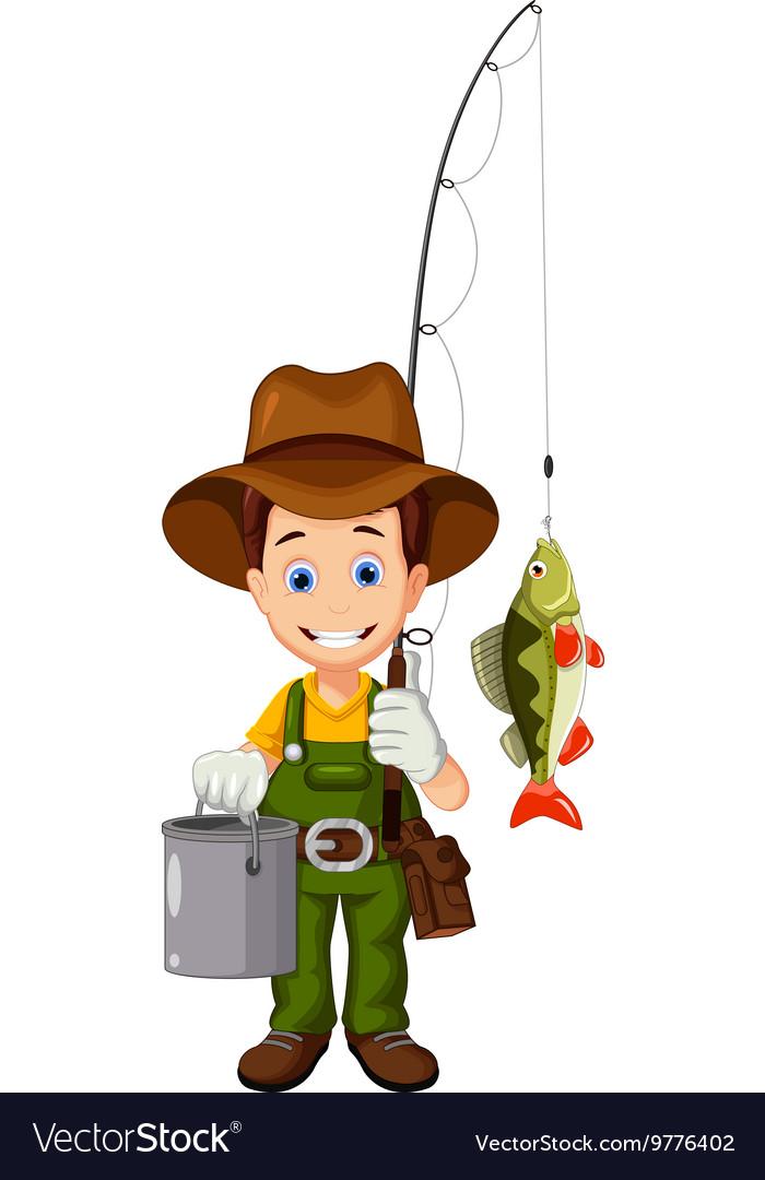Funny cartoon Fisherman and fish.