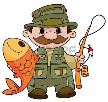 cartoon fishing: An illustration of a fisherman Illustration.