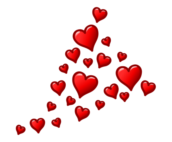 hearts png floating transparent without background image.