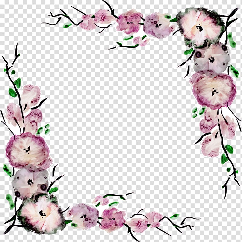 Animated pink and white flowers illustration, Flower Purple.