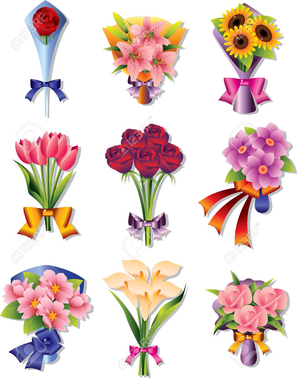 Animated flower bouquet clipart.