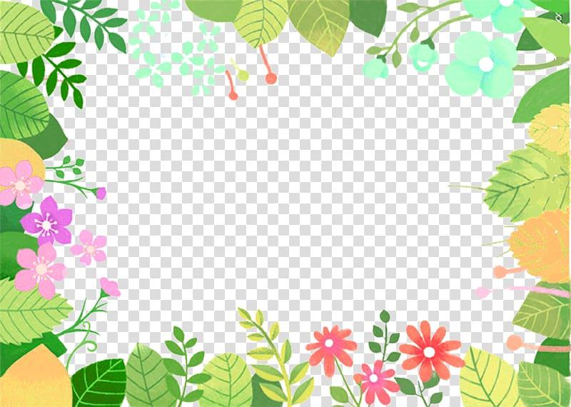 Green floral boarder , Floral design Green Leaf Cartoon.
