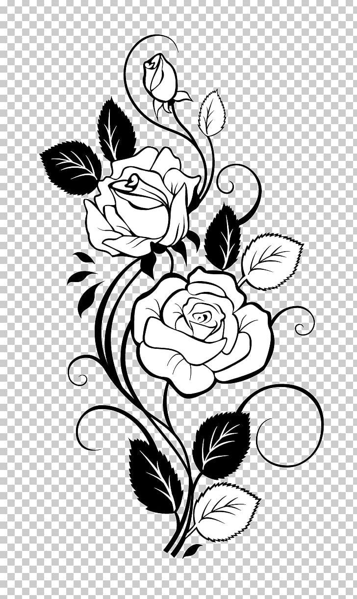 Rose Drawing Vine PNG, Clipart, Black, Black Rose, Branch.